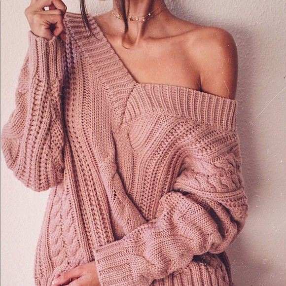 57efc63f89df Mauve Pink Cable Knit Sweater